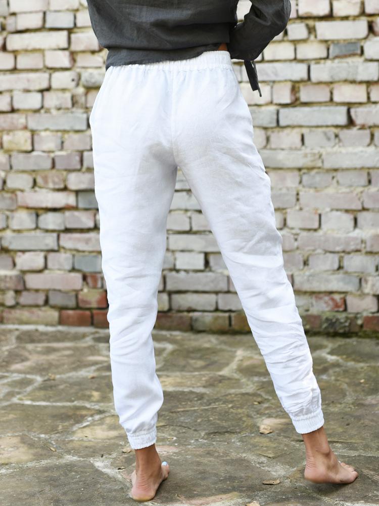 długie lniane spodnie damskie
