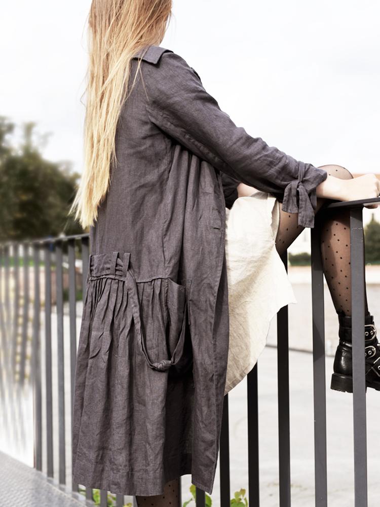 lniany długi płaszcz