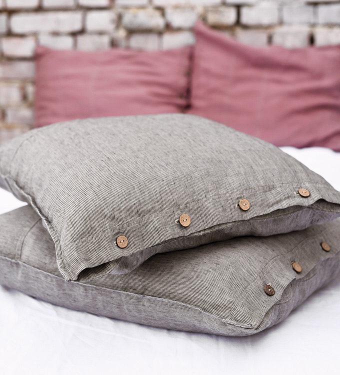 poszewka na poduszke w paski lniana