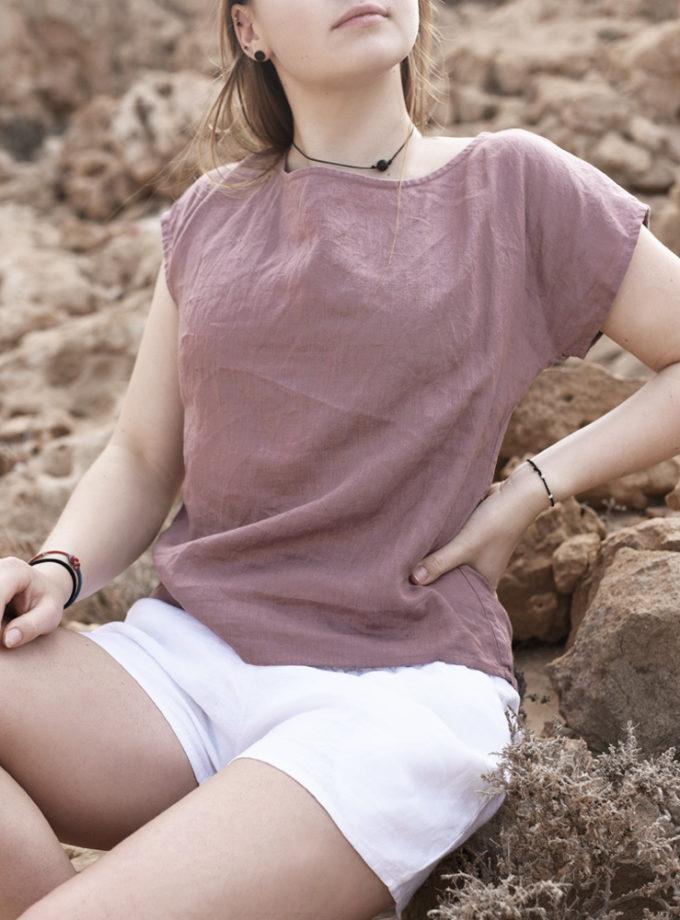lniana wrzosowa koszulka