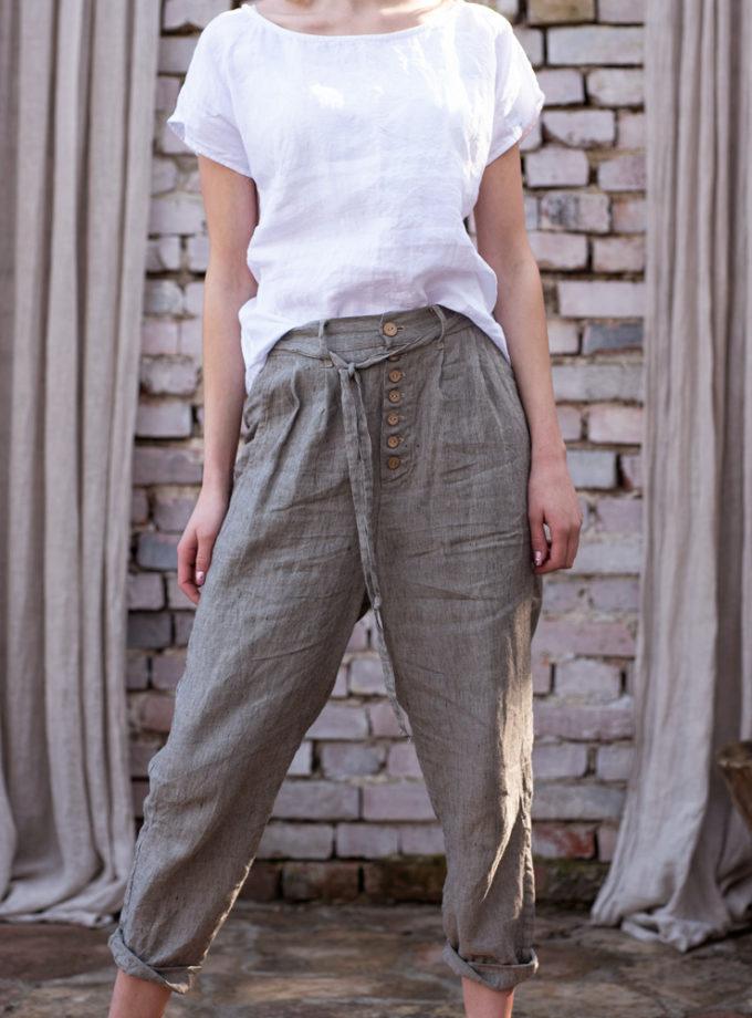 lniane spodnie z guzikami
